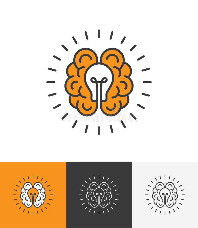 Logotipo com cérebro e a ampola ilustração stock