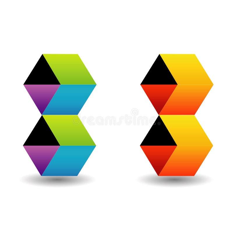 Logotipo com cubos coloridos ilustração stock