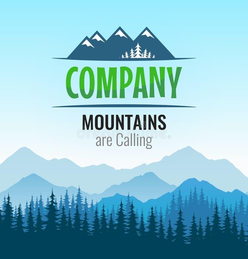 Logotipo com floresta da silhueta e montanhas do turismo exterior escandinavo ilustração royalty free