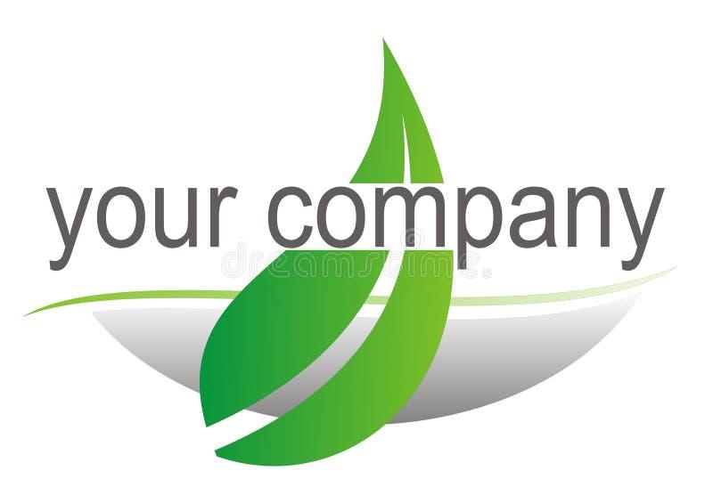 Logotipo com folha verde ilustração stock
