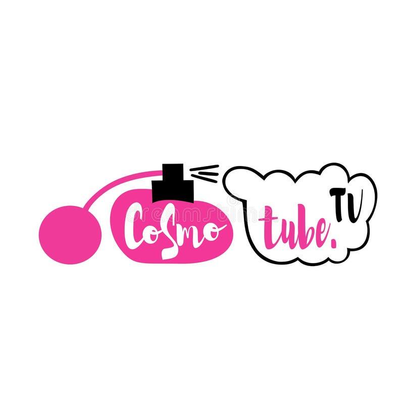 Logotipo com a garrafa de perfume para bloggers da beleza em YouTube ilustração do vetor
