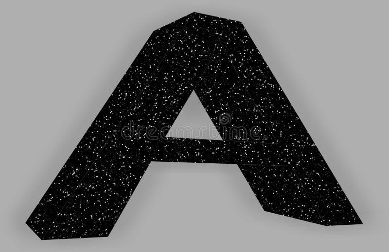 Logotipo com letra A projeto preto com estrelas ilustração royalty free