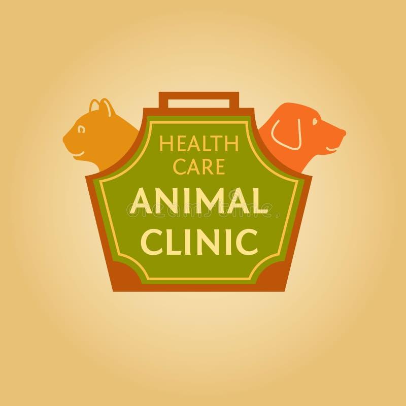 Logotipo com os animais para a clínica animal Cuidados médicos ilustração royalty free