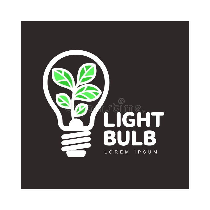 Logotipo com a planta que cresce a ampola interna, ecologia, conceito do crescimento ilustração do vetor