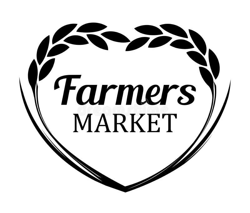 Logotipo com trigo de Rye para o mercado dos fazendeiros - bandeira do vetor isolada no fundo branco ilustração stock