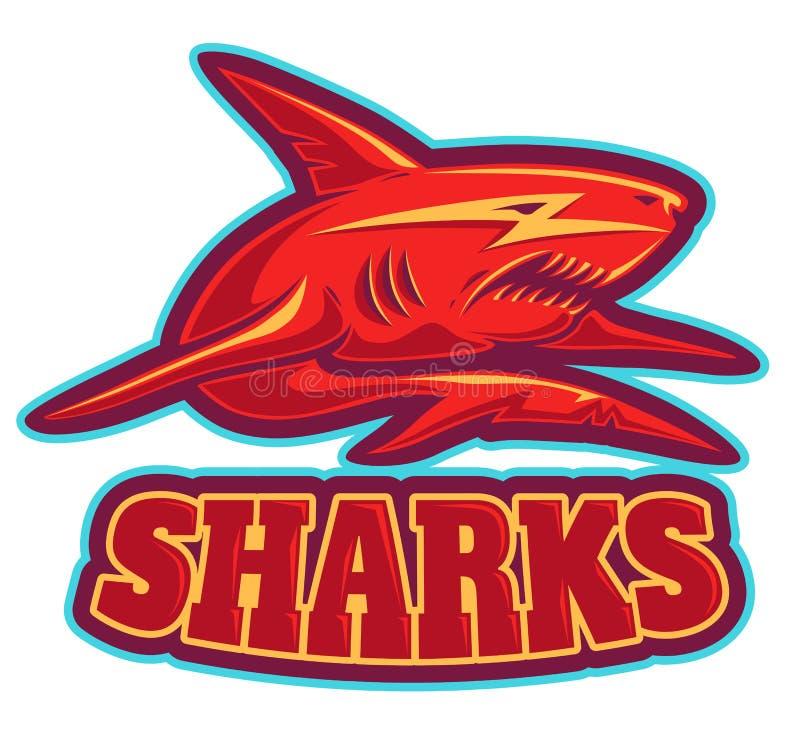 Logotipo com tubarão ilustração stock