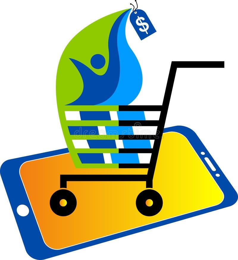 Logotipo comprando móvel ilustração stock