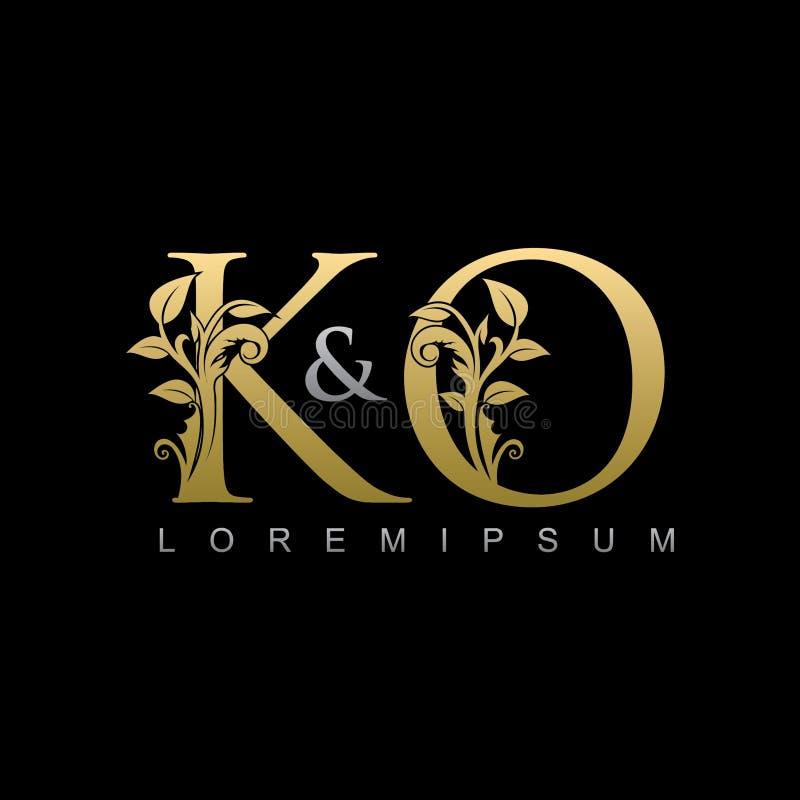 Logotipo con clase de la letra del knock-out de la hoja de oro stock de ilustración