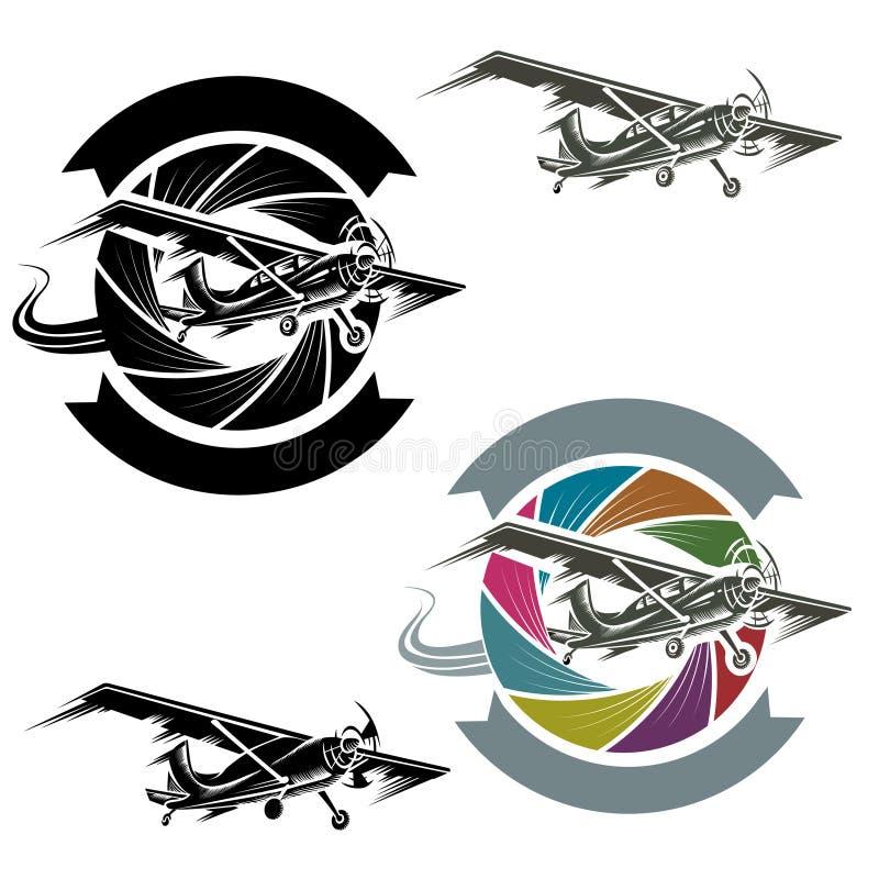 Logotipo con el aeroplano stock de ilustración