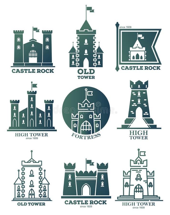 Logotipo con el castillo y torres en las banderas Capa de brazos ilustración del vector