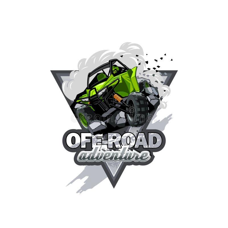 Logotipo con errores campo a través de ATV, aventura extrema stock de ilustración