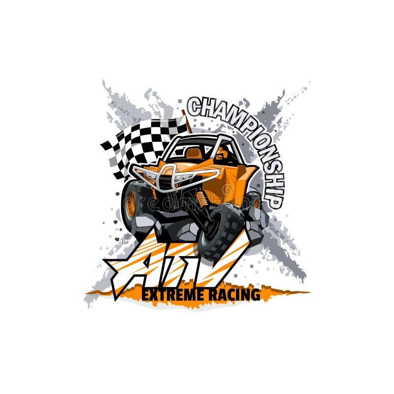 Logotipo con errores campo a través de ATV, campeonato extremo ilustración del vector