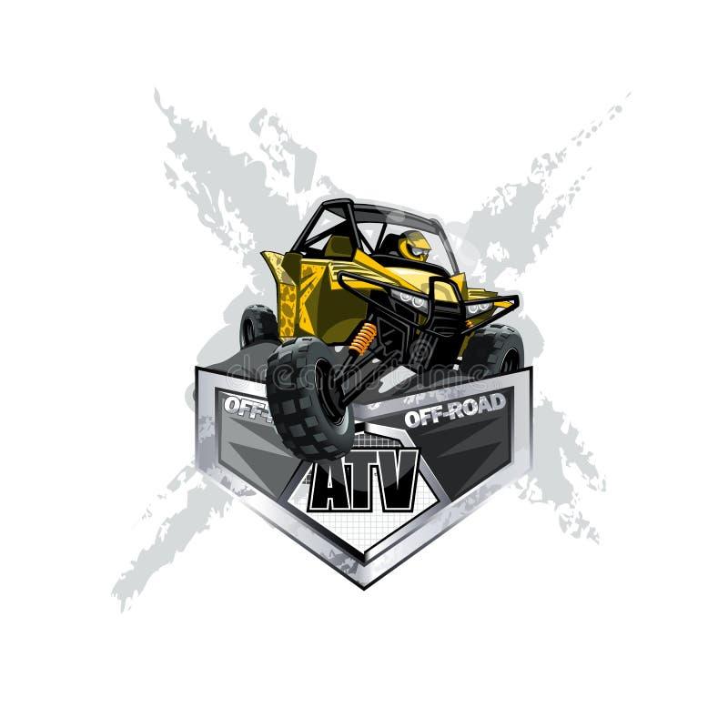 Logotipo con errores campo a través de ATV, extremo libre illustration
