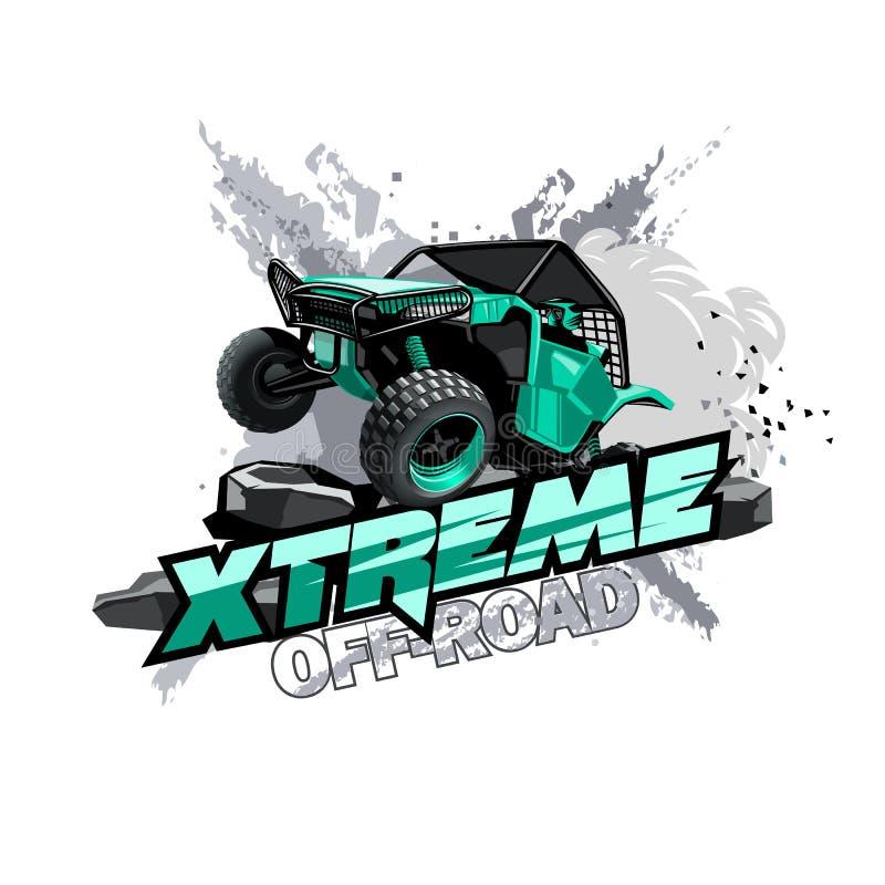 Logotipo con errores campo a través de ATV, raza extrema stock de ilustración