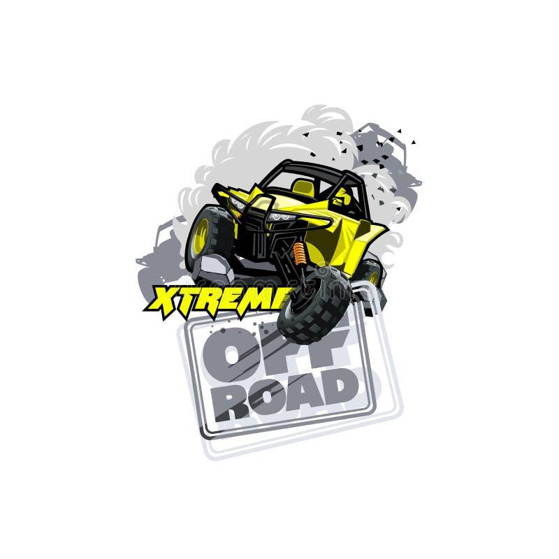 Logotipo con errores campo a través de ATV, razas extremas stock de ilustración