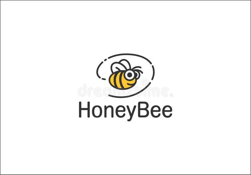 Logotipo con la abeja ilustración del vector