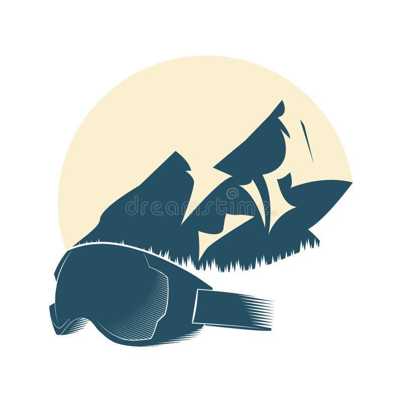 Logotipo con la montaña y la máscara para los deportes de invierno Deportes extremos Ilustración del vector ilustración del vector