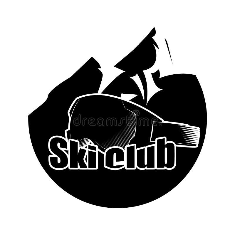 Logotipo con la montaña y la máscara para los deportes de invierno Deportes extremos Ilustración del vector stock de ilustración