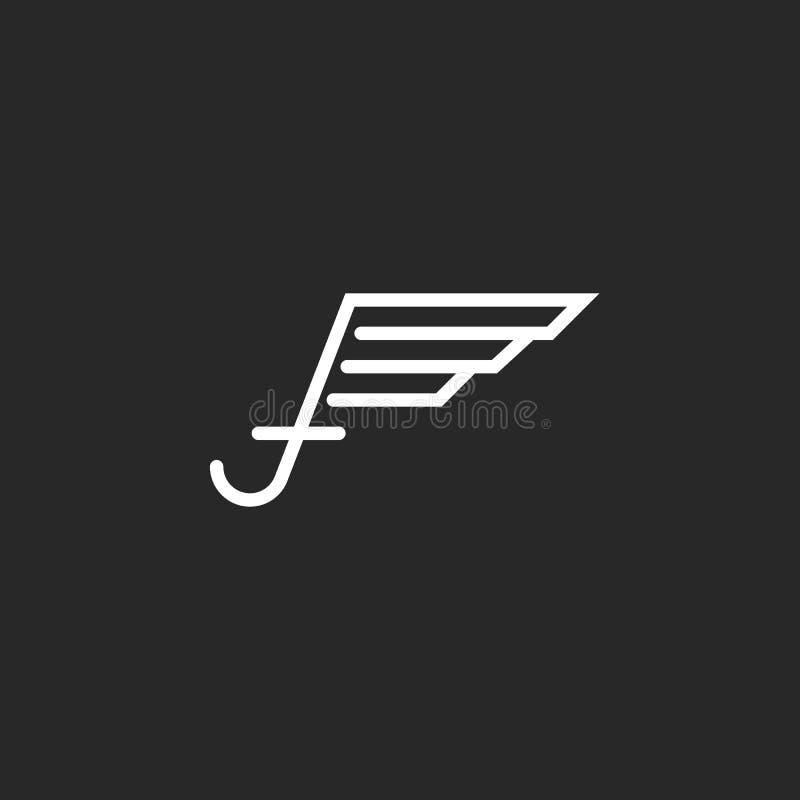 Logotipo con las alas, proyecto en las líneas finas, disposición blanco y negro de la letra mayúscula f del negocio del emblema d stock de ilustración