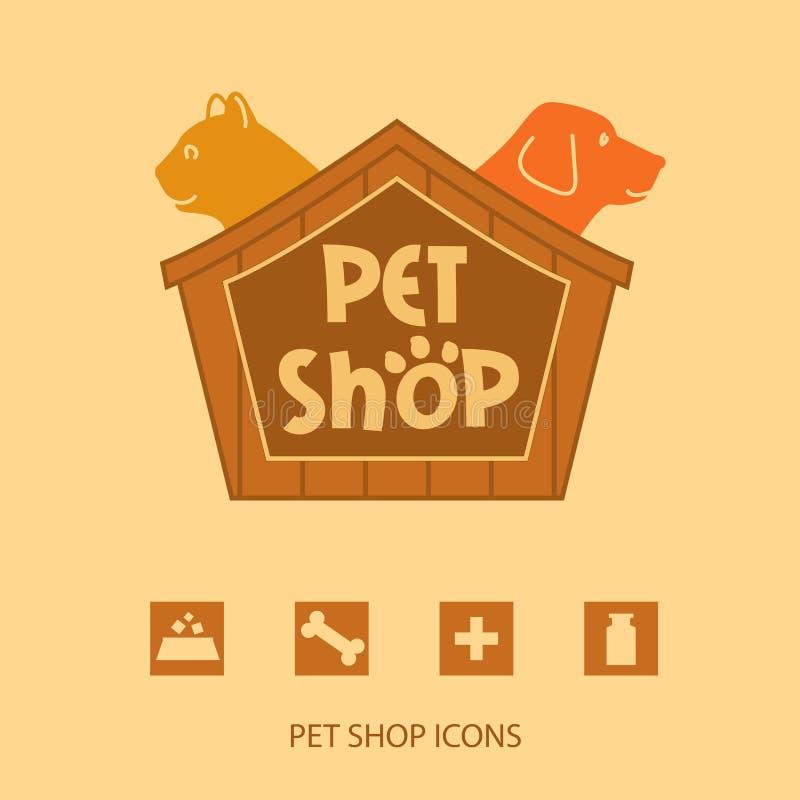 Logotipo con los animales para la tienda de animales Gato y perro en stock de ilustración