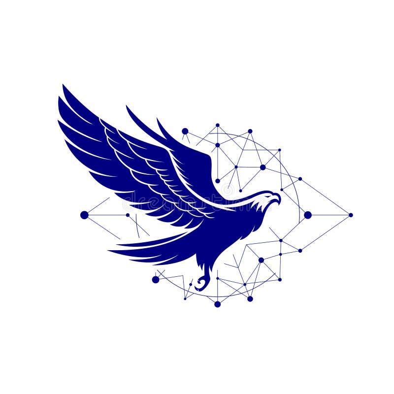 Logotipo con los conceptos futuros de la tecnología - vector de Eagle stock de ilustración