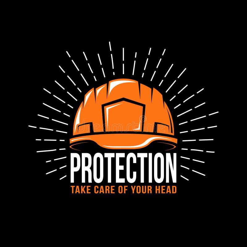 Logotipo con un casco de trabajo ilustración del vector