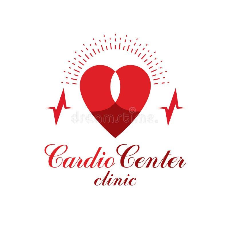 Logotipo conceptual do vetor da cardiologia criado com a forma vermelha do coração e uma carta do ecg Conceito cardiovascular do  ilustração royalty free