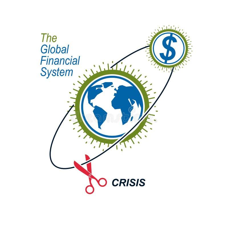 Logotipo conceptual global de la crisis financiera, símbolo único del vector B ilustración del vector