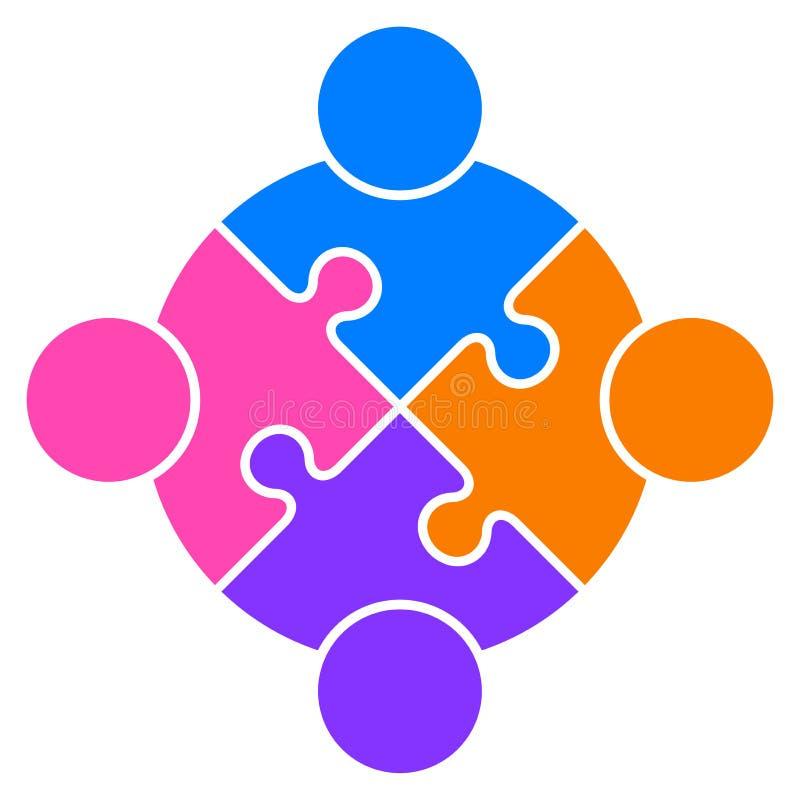 Logotipo conectado del rompecabezas del trabajo en equipo gente junto ilustración del vector
