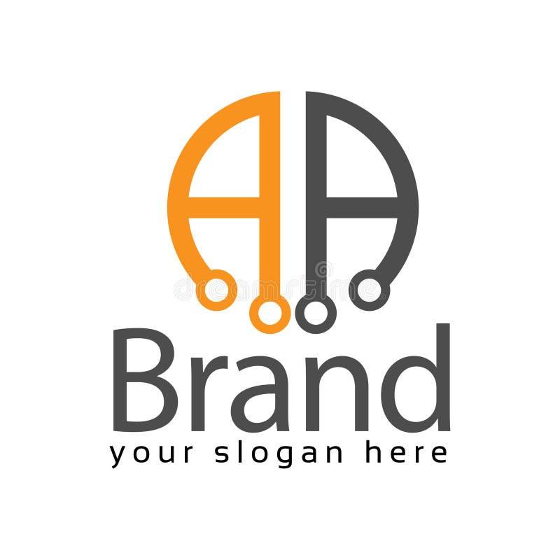 Logotipo conservado em estoque do AA da letra, AA inicial , projeto liso Logotipo da tecnologia ilustração stock