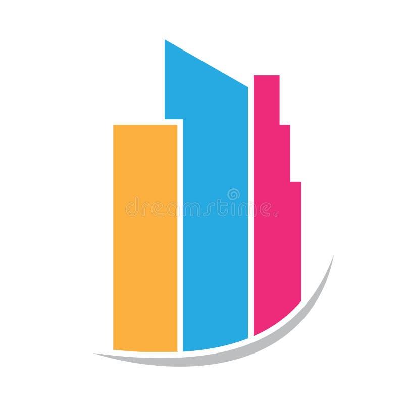 Logotipo constructivo de la torre de las propiedades inmobiliarias stock de ilustración