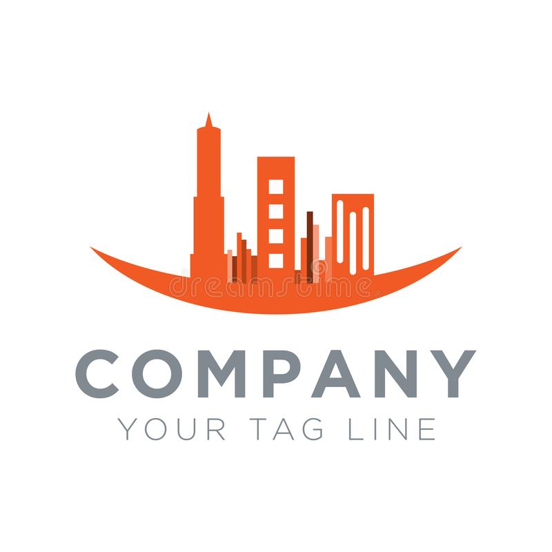 Logotipo constructivo en un lavabo circular stock de ilustración