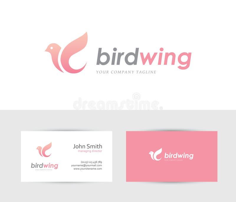 Logotipo cor-de-rosa do pássaro ilustração royalty free