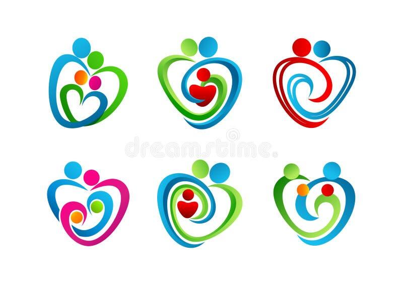 , logotipo, coração, parenting, símbolo, amor, ícone, conceito, cuidado, projeto ilustração do vetor