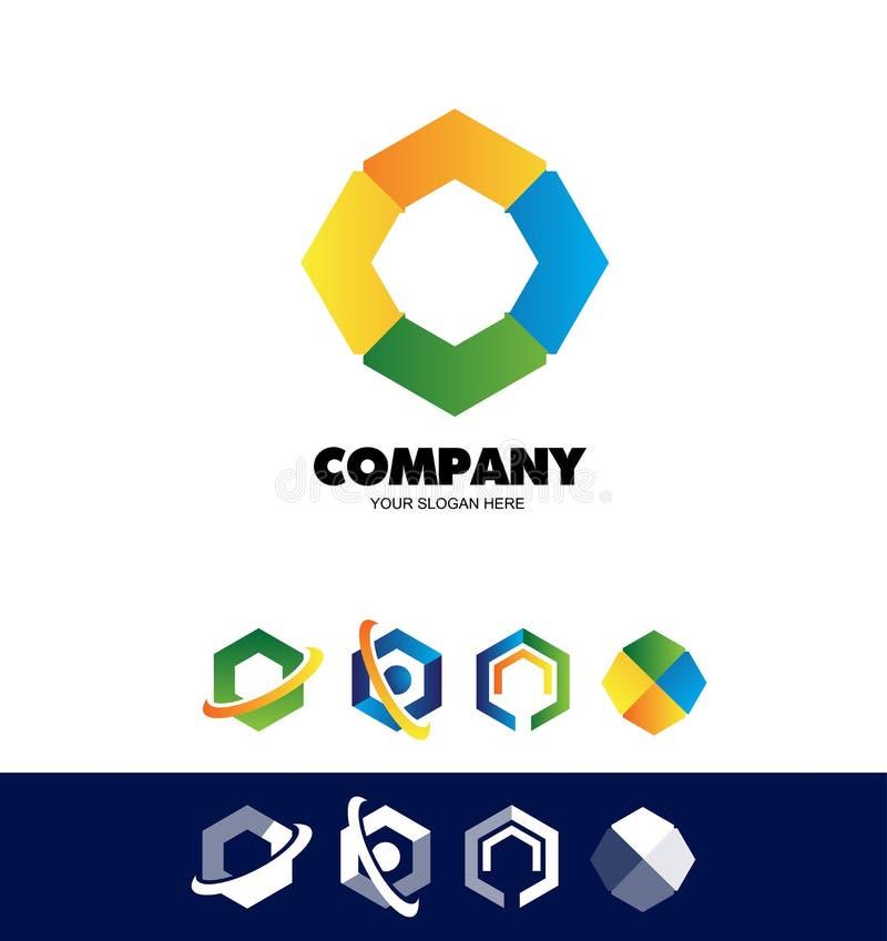 Logotipo corporativo del hexágono del polígono stock de ilustración