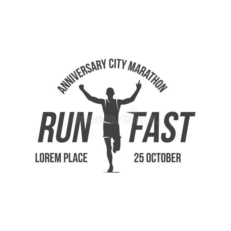 Logotipo corriente, concepto del maratón, actividades del deporte, línea icono del vector del triathlon stock de ilustración