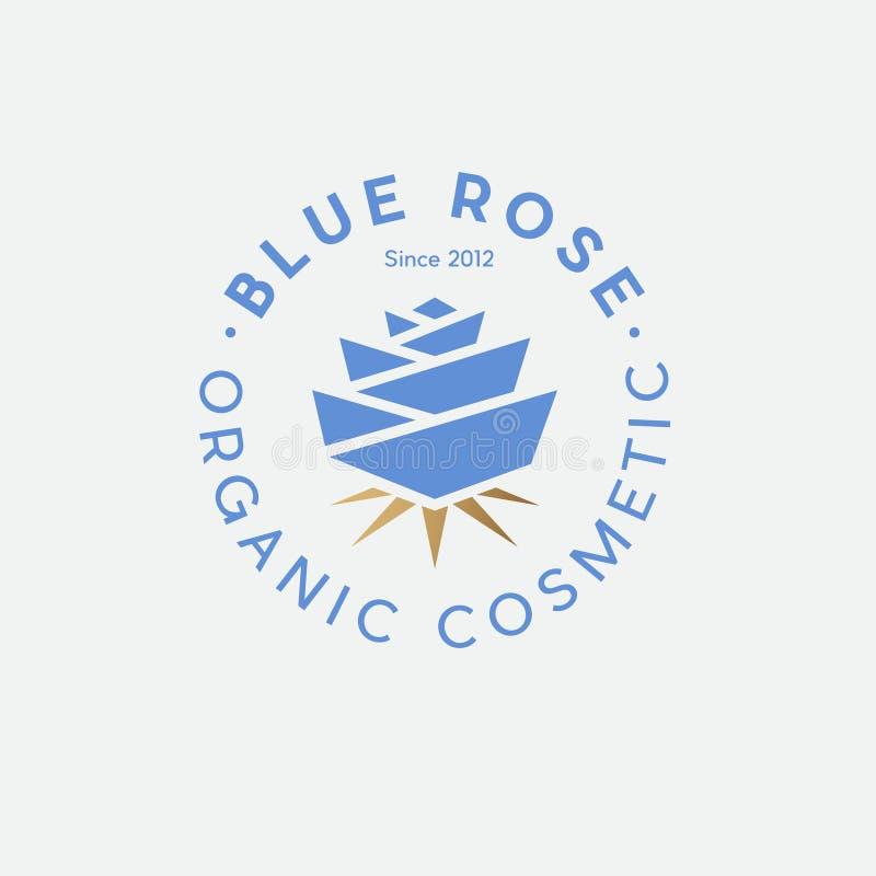 Logotipo cosmético orgánico azul de Rose Emblema del balneario o del cosm?tico stock de ilustración
