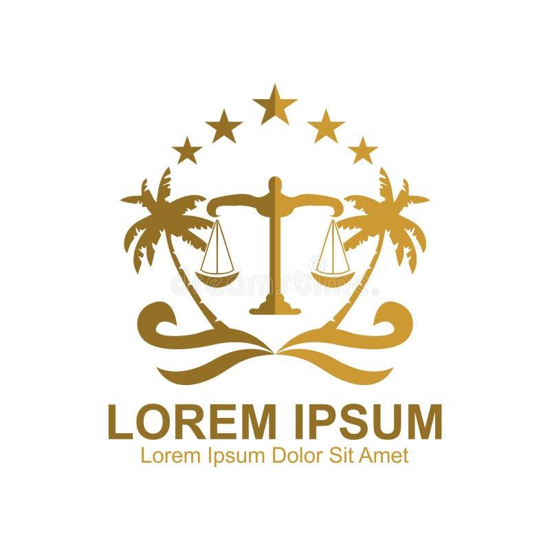 Logotipo costero del emblema del bufete de abogados stock de ilustración