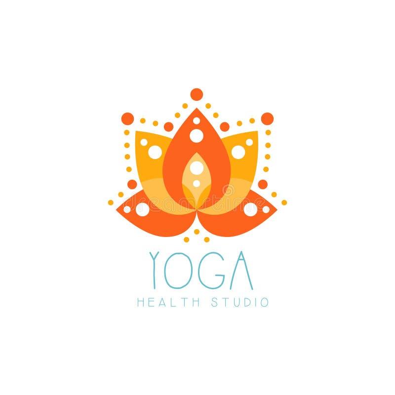 Logotipo creativo anaranjado del loto de la yoga stock de ilustración