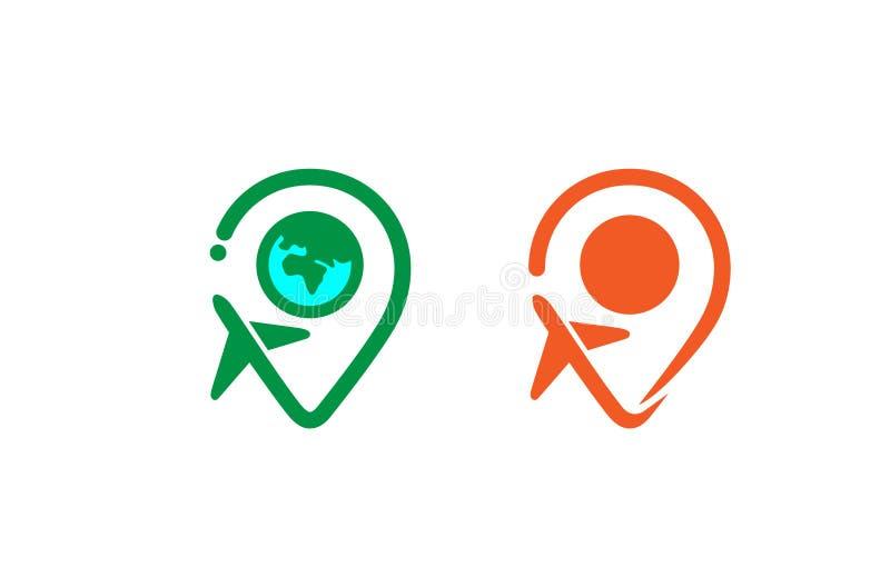 Logotipo creativo del aire del aeroplano del buscador del mundo del viaje stock de ilustración