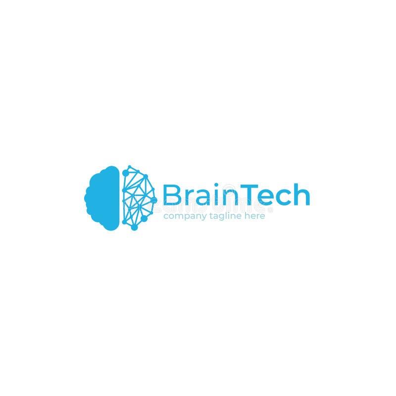 Logotipo creativo del cerebro azul de la tecnología Concepto del logotipo Educación y mente humana ilustración del vector