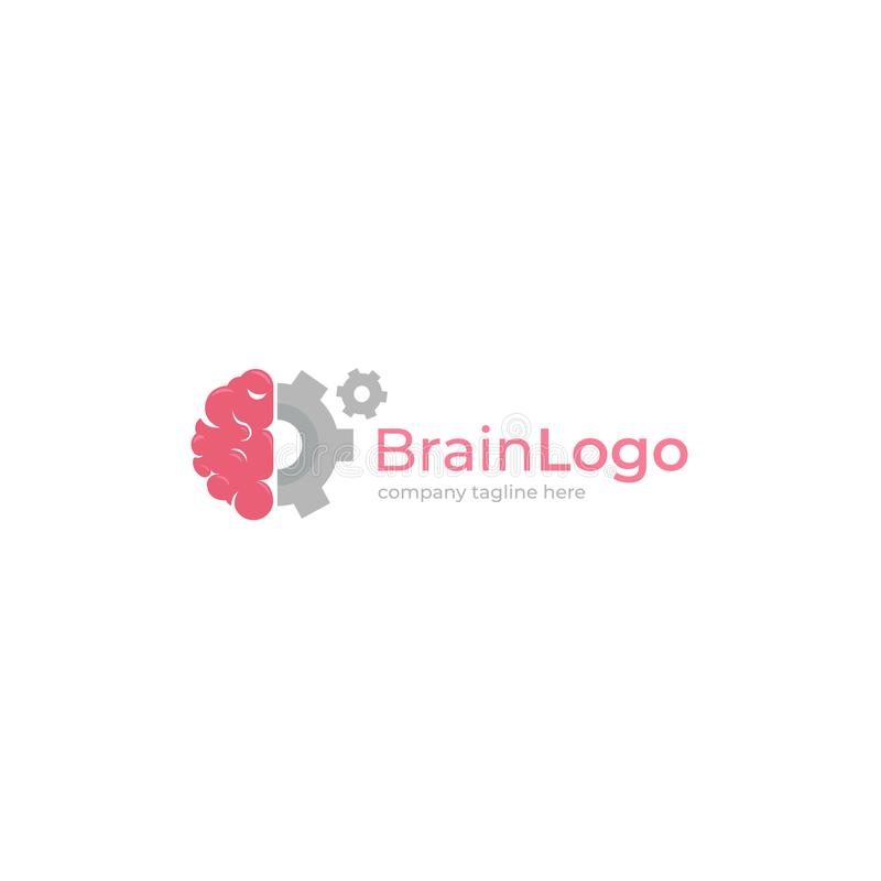 Logotipo creativo del cerebro Concepto del logotipo Educación y mente humana stock de ilustración