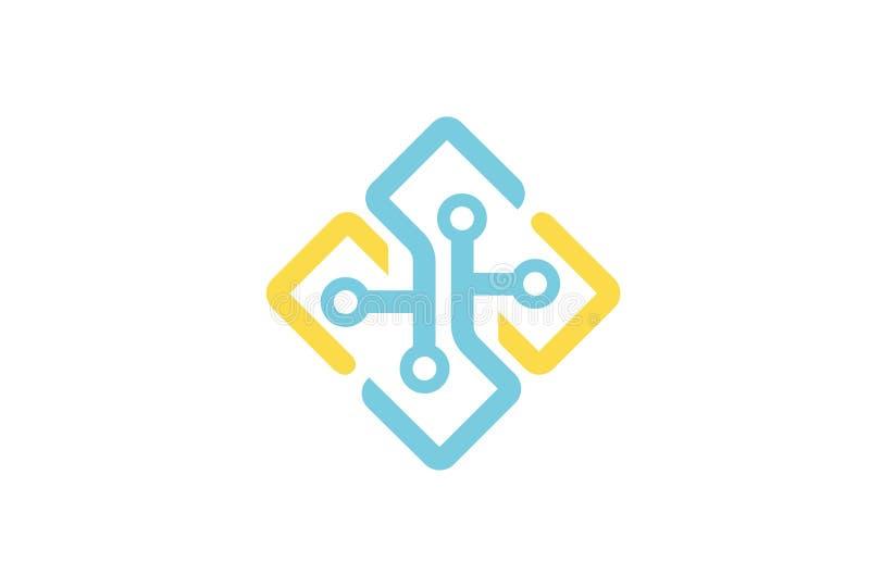 Logotipo creativo del diseño del símbolo de la conexión de las formas stock de ilustración