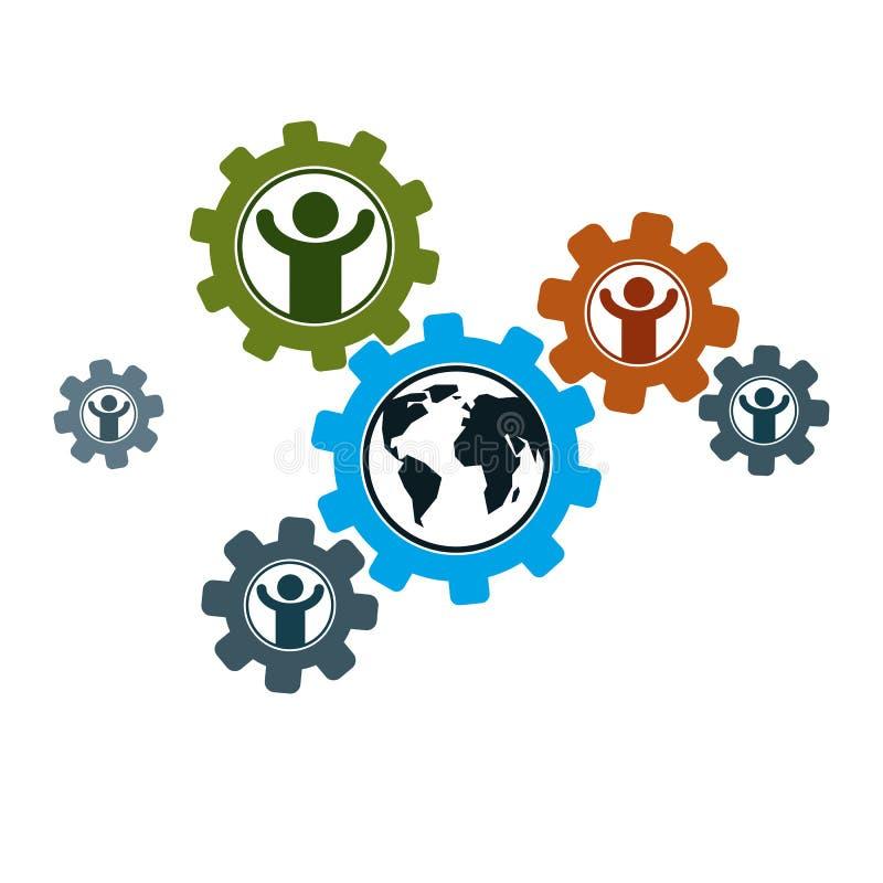 Logotipo creativo del mundo y de la persona, símbolo único del vector creado stock de ilustración