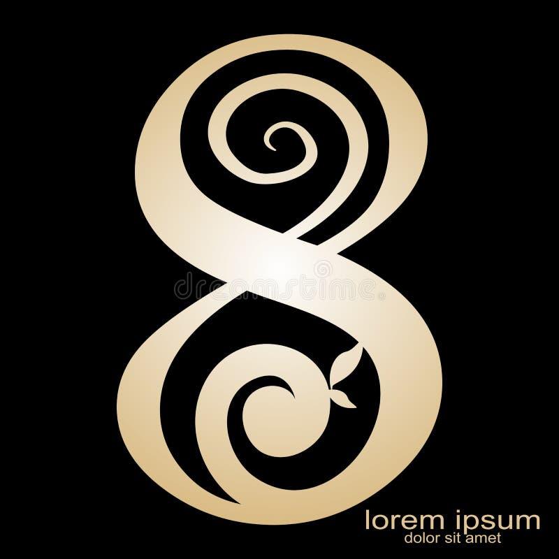Logotipo creativo del número 8 del diseño de muestra ilustración del vector