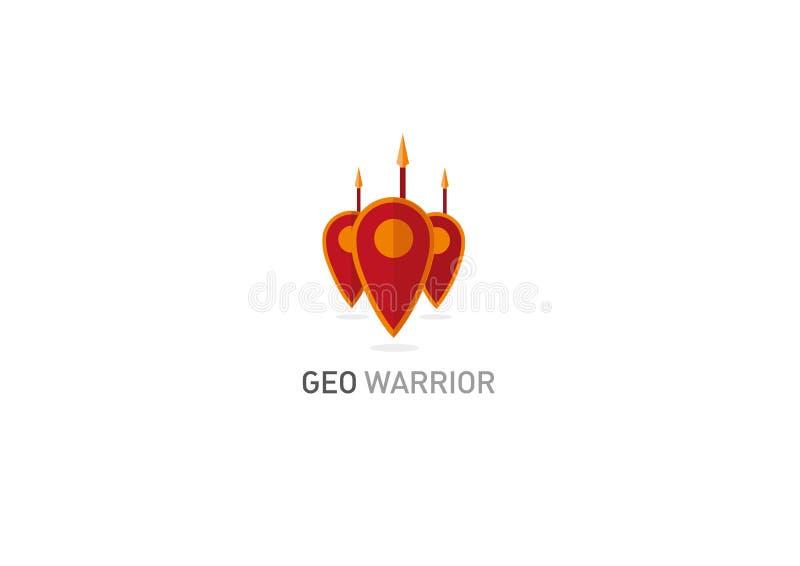 Logotipo creativo Marca geométrica um protetor do cavaleiro ilustração royalty free