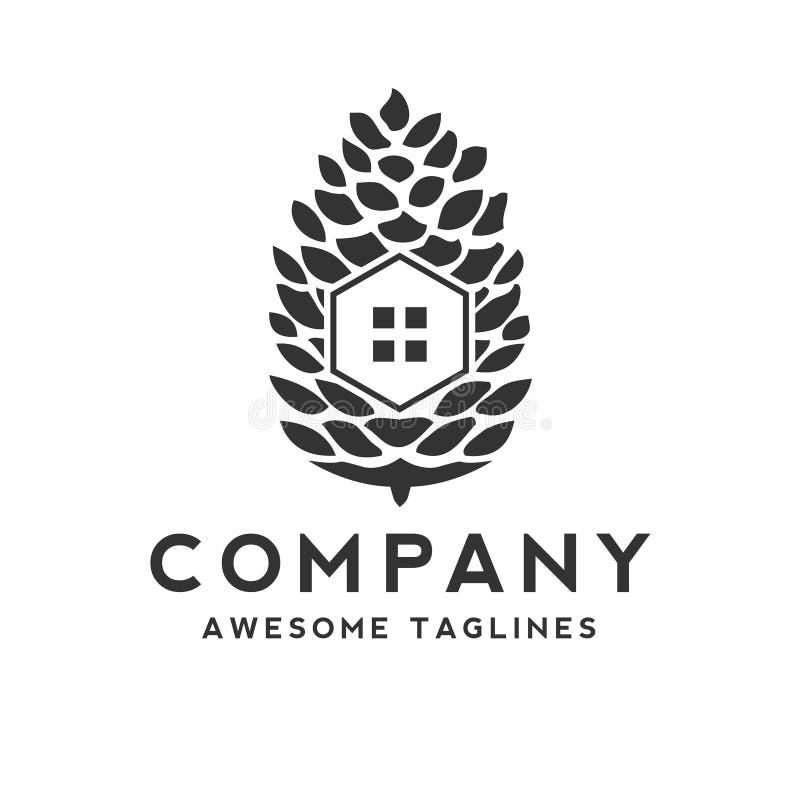 Logotipo creativo y simple de la casa del pino stock de ilustración