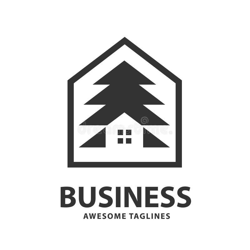 Logotipo creativo y simple de la casa del pino ilustración del vector