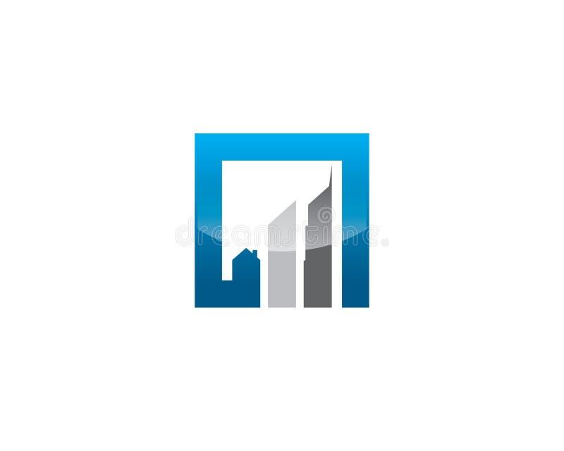 Logotipo crescente quadrado simples do gráfico com construções highrise como barras de ascensão ilustração stock