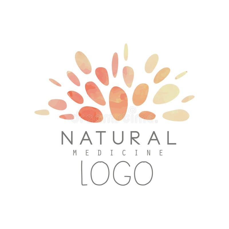 Logotipo criativo com teste padrão abstrato da aquarela Medicina natural ou alternativa Conceito do bem-estar Naturopathic holíst ilustração royalty free